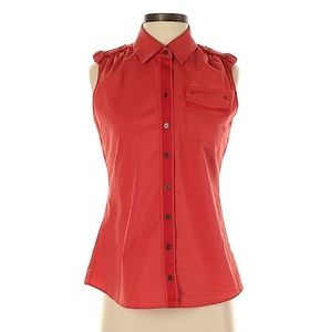 Elie Tahari Red Sleeveless Button-Down Shirt